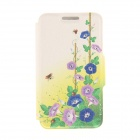 Kinston Ladybug + Petunia Pattern PU + Plastic Case w/ Stand for IPHONE 6 PLUS - Multicolored