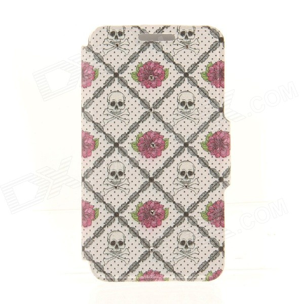 Kinston Rose + Skull Lattice Pattern PU + Plastic Case w/ Stand for IPHONE 6 PLUS - Multicolored kinston kst92535 silk pattern pu plastic case w stand for iphone 6 plus white
