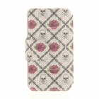 Kinston Rose + Skull Lattice Pattern PU + Plastic Case w/ Stand for IPHONE 6 PLUS - Multicolored