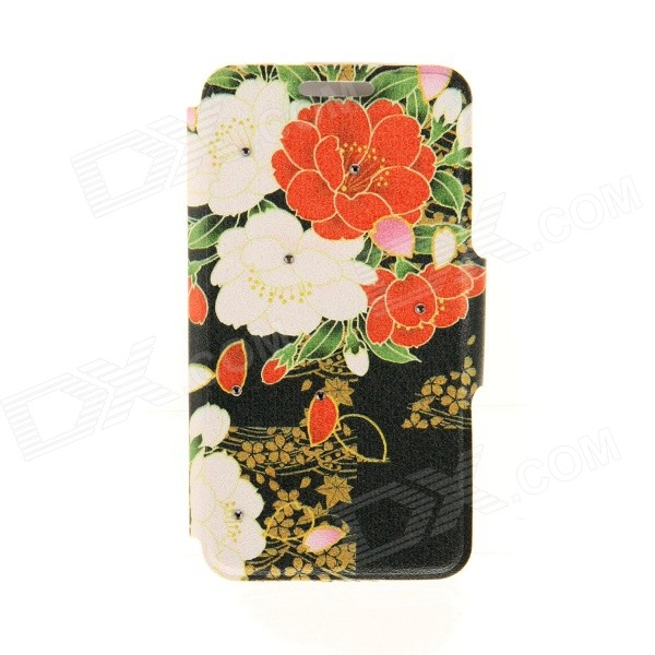 Kinston Flowers Bloom Diamond Paste Pattern PU Leather Full Body Case Cover Stand for IPHONE 6 Plus kinston pink lotus diamond paste pattern pu leather full body case cover stand for iphone 6 plus