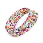 eQute BPEW43C99 Pastoral Style Multi-Layer Wooden Beads Bracelet for Women - Multicolored
