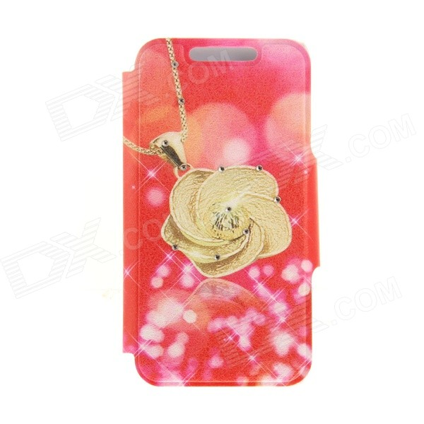 Kinston KST92528 Rose Pattern PU + Plastic Case w/ Stand for IPHONE 6 PLUS - Red + Golden kinston kst92535 silk pattern pu plastic case w stand for iphone 6 plus white