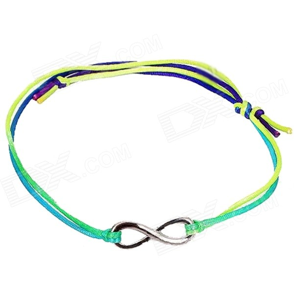 Fashion Style Infinite Zinc Alloy + Fabric Bracelet  for Girls  - Yellow + Multicolored