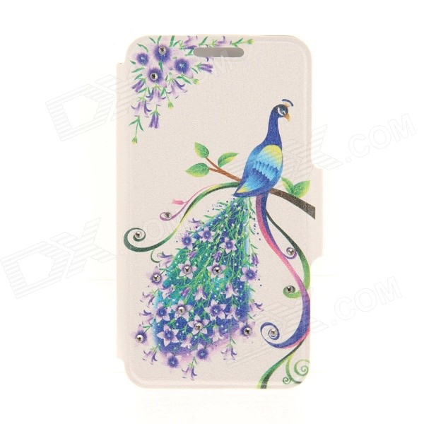Kinston Peacock Five Petals Flower Diamond Paste Pattern PU Leather Full Body Case for IPHONE 6 Plus kinston the seal in water pattern pu leather full body case cover stand for iphone 6 plus yellow