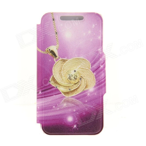 Kinston KST92531 Rose Pattern PU + Plastic Case w/ Stand for IPHONE 6 PLUS - Golden + Purple kinston kst92535 silk pattern pu plastic case w stand for iphone 6 plus white