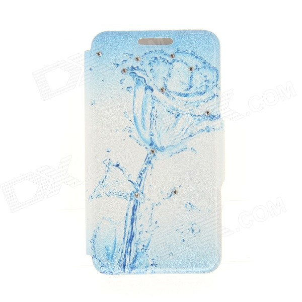Kinston KST92501 Water Rose Pattern PU + Plastic Case w/ Stand for IPHONE 6 PLUS - White + Blue kinston kst92535 silk pattern pu plastic case w stand for iphone 6 plus white