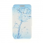Kinston KST92501 Water Rose Pattern PU + Plastic Case w/ Stand for IPHONE 6 PLUS - White + Blue