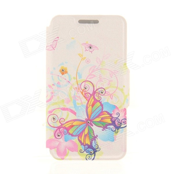 Kinston Watercolor Butterflies Pattern PU + Plastic Case w/ Stand for IPHONE 6 PLUS - Multicolored kinston kst92535 silk pattern pu plastic case w stand for iphone 6 plus white