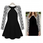 Stylish Tight Waist Round Collar Long Sleeves Lace + Cotton Dress - Black + White (L)