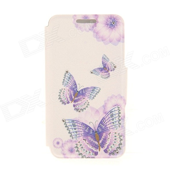 Kinston Three Butterflies Pattern PU + Plastic Case w/ Stand for IPHONE 6 PLUS - White + Purple kinston kst92535 silk pattern pu plastic case w stand for iphone 6 plus white