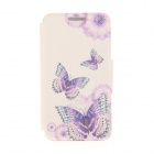 Kinston Three Butterflies Pattern PU + Plastic Case w/ Stand for IPHONE 6 PLUS - White + Purple