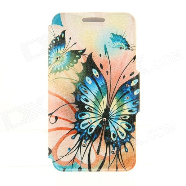 Kinston Art Butterflies Pattern PU + Plastic Case w/ Stand for IPHONE 6 PLUS - Orange + Blue kinston kst92535 silk pattern pu plastic case w stand for iphone 6 plus white