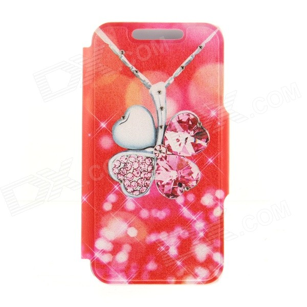 Kinston Four-leaf Clover Pattern PU + Plastic Case w/ Stand for IPHONE 6 PLUS - Red + Silver kinston kst91872 ladybug petunia w rhinestones pattern pu case w stand for iphone 6 multicolored
