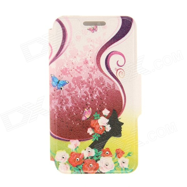 Kinston Art Long Hair Girl Pattern PU + Plastic Case w/ Stand for IPHONE 6 PLUS - Brown + Black kinston kst92535 silk pattern pu plastic case w stand for iphone 6 plus white