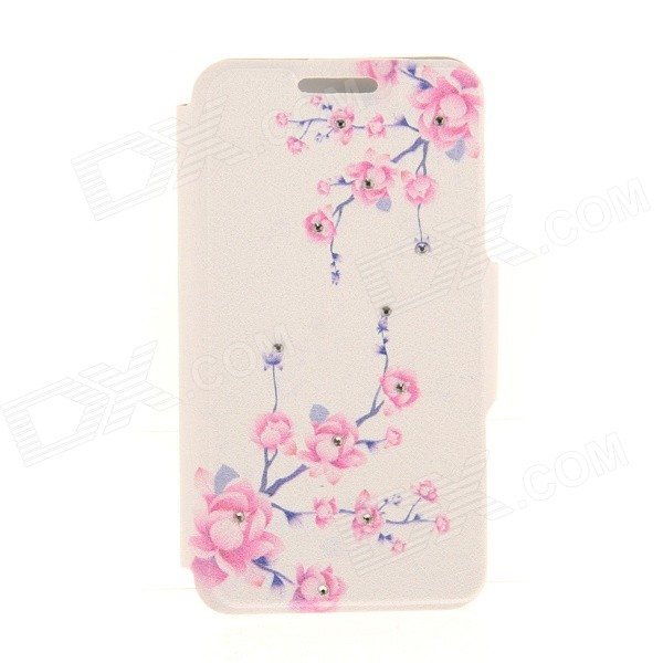 Kinston Branches + Flowers Pattern PU + Plastic Case w/ Stand for IPHONE 6 PLUS - White + Pink kinston kst92535 silk pattern pu plastic case w stand for iphone 6 plus white