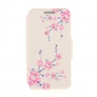 Kinston Branches + Flowers Pattern PU + Plastic Case w/ Stand for IPHONE 6 PLUS - White + Pink