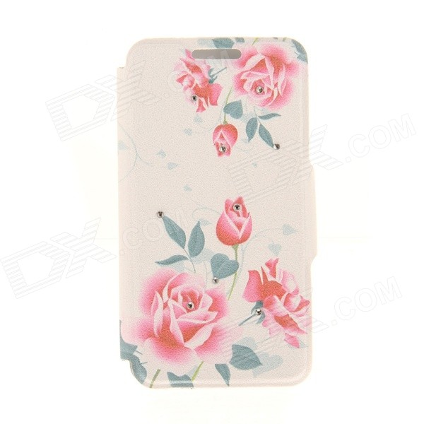 Kinston Ink Painting Flowers Pattern PU + Plastic Case w/ Stand for IPHONE 6 PLUS - Red + Blue kinston kst92535 silk pattern pu plastic case w stand for iphone 6 plus white