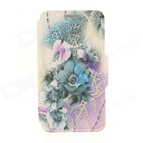 Kinston Flower + Leopard Grain Pattern PU + Plastic Case w/ Stand for IPHONE 6 PLUS - Purple + Blue kinston kst92535 silk pattern pu plastic case w stand for iphone 6 plus white