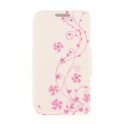 Kinston KST92508 Vine Pattern PU + Plastic Case w/ Stand for IPHONE 6 PLUS - White + Pink