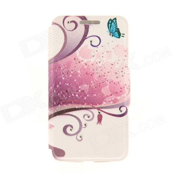 Kinston Flowers + High-heel Pattern PU + Plastic Case w/ Stand for IPHONE 6 PLUS - Multicolored kinston kst92535 silk pattern pu plastic case w stand for iphone 6 plus white