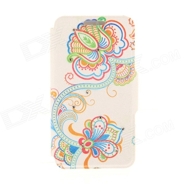 Kinston Art Flower + Vine Pattern PU + Plastic Case w/ Stand for IPHONE 6 PLUS - Multicolored kinston kst92535 silk pattern pu plastic case w stand for iphone 6 plus white