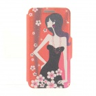 Kinston Plum Blossom + Girl Pattern PU + Plastic Case w/ Stand for IPHONE 6 PLUS - Multicolored