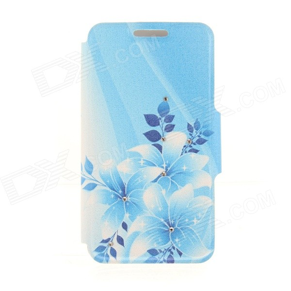 Kinston Flowers + Leaves Pattern PU + Plastic Case w/ Stand for IPHONE 6 PLUS - White + Blue kinston kst91872 ladybug petunia w rhinestones pattern pu case w stand for iphone 6 multicolored