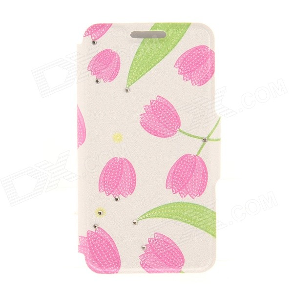 Kinston KST92481 Leave + Tulip Pattern PU + Plastic Case w/ Stand for IPHONE 6 PLUS - Pink + Green kinston kst92535 silk pattern pu plastic case w stand for iphone 6 plus white