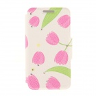 Kinston KST92481 Leave + Tulip Pattern PU + Plastic Case w/ Stand for IPHONE 6 PLUS - Pink + Green
