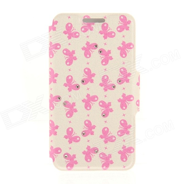 Kinston KST92497 Butterflies Pattern PU + Plastic Case w/ Stand for IPHONE 6 PLUS - White + Pink kinston kst92535 silk pattern pu plastic case w stand for iphone 6 plus white