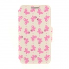 Kinston KST92497 Butterflies Pattern PU + Plastic Case w/ Stand for IPHONE 6 PLUS - White + Pink