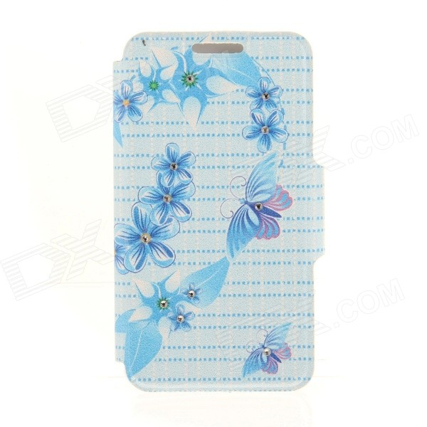 Kinston Flowers + Butterfly Pattern PU + Plastic Case w/ Stand for IPHONE 6 PLUS - Multicolored kinston kst92535 silk pattern pu plastic case w stand for iphone 6 plus white