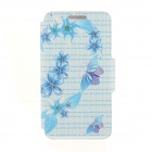 Kinston Flowers + Butterfly Pattern PU + Plastic Case w/ Stand for IPHONE 6 PLUS - Multicolored