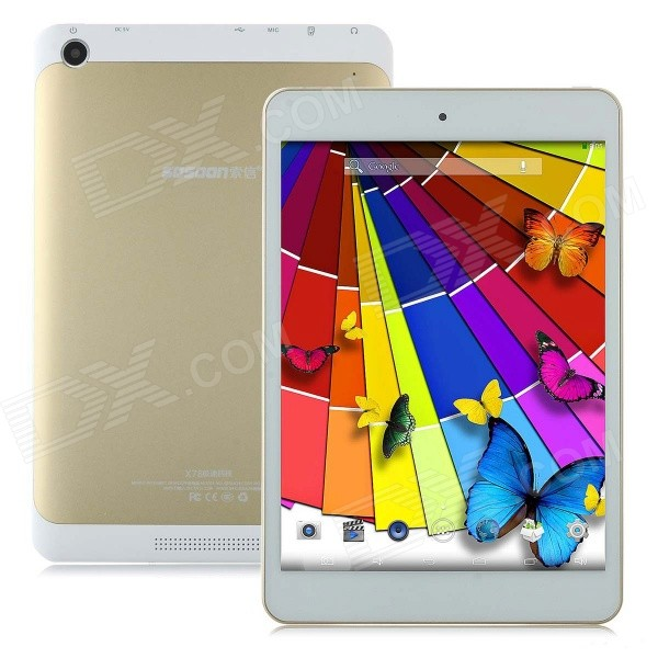 SOSOON X78 7.85 Quad-Core  Android 4.4 Tablet PC w/ 512MB RAM, 8GB ROM, Dual Cameras - Golden sosoon x88 quad core 8 ips android 4 4 tablet pc w 1gb ram 8gb rom hdmi gps bluetooth white
