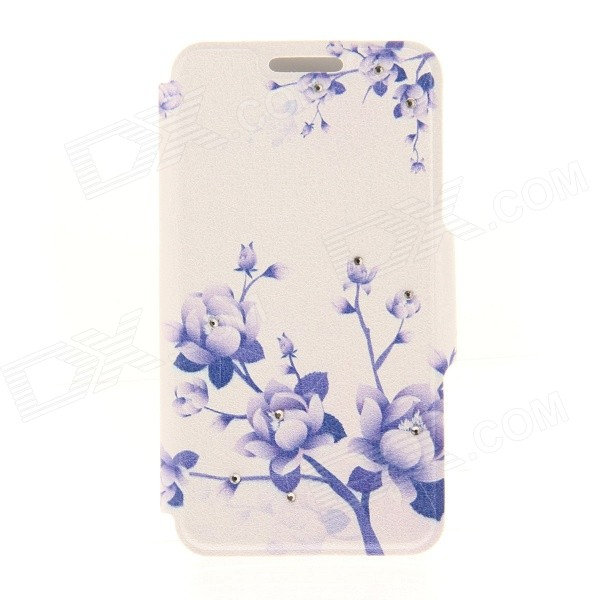 Kinston Flowers on Branch Pattern PU + Plastic Case w/ Stand for IPHONE 6 PLUS - White + Purple kinston kst91872 ladybug petunia w rhinestones pattern pu case w stand for iphone 6 multicolored