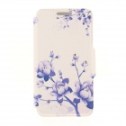 Kinston Flowers on Branch Pattern PU + Plastic Case w/ Stand for IPHONE 6 PLUS - White + Purple