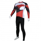 Paladinsport Men's Patterned Long-sleeve Jersey + Pants Set for Cycling - White + Red (XXXL)