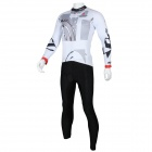 Paladinsport Patterned Long-sleeve Jersey + Pants Set for Cycling - White + Silvery Gray (XXXL)