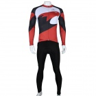 Paladinsport Print Long-sleeve Jersey + Pants Set for Cycling - White + Red (M)
