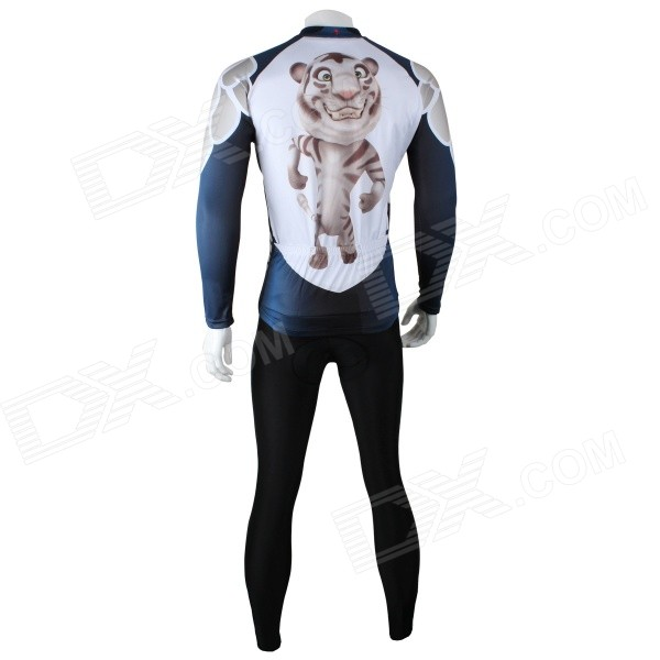 Paladinsport Cute Tiger Print Long-sleeve Jersey + Pants Set for Cycling - White + Black (L)