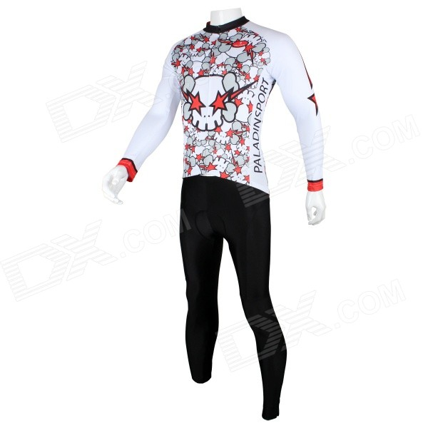 Paladinsport Cute Catoon Patterned Long-sleeve Jersey + Pants Set for Cycling - White + Red (XXXL)