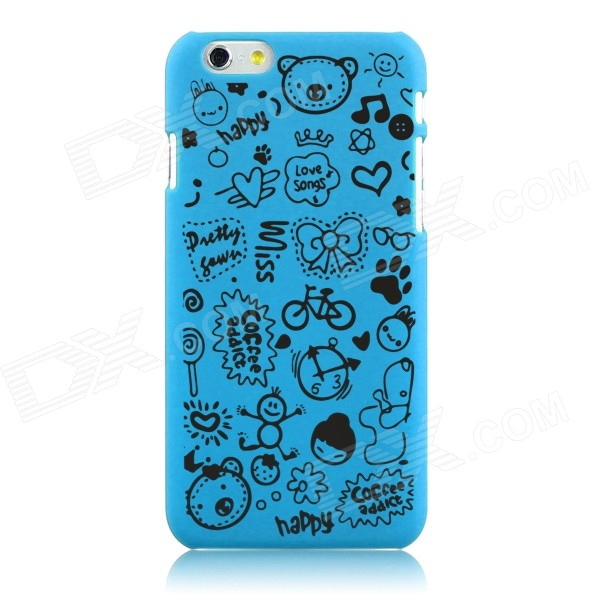 Hat-Prince Cartoon Print Protective Matte Non-slip Back Case for IPHONE 6 Plus - Light Blue iface mall glossy pc non slip tpu back case for iphone 6 plus 6s plus blue