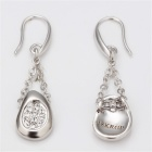LKN18KRGPE043 18K Platinum Plated Zinc Alloy + Rhinestones Pendant Earrings - Silver (Pair)