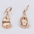 LKN18KRGPE050 Elegant Foot Shaped Gold-Plated Zinc Alloy + Rhinestones Earrings - Rose Golden (Pair)