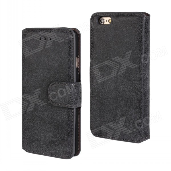 Protective Flip-Open Retro Matte PU Leather Case w/ Card Slots + Stand for IPHONE 6 4.7 - Black