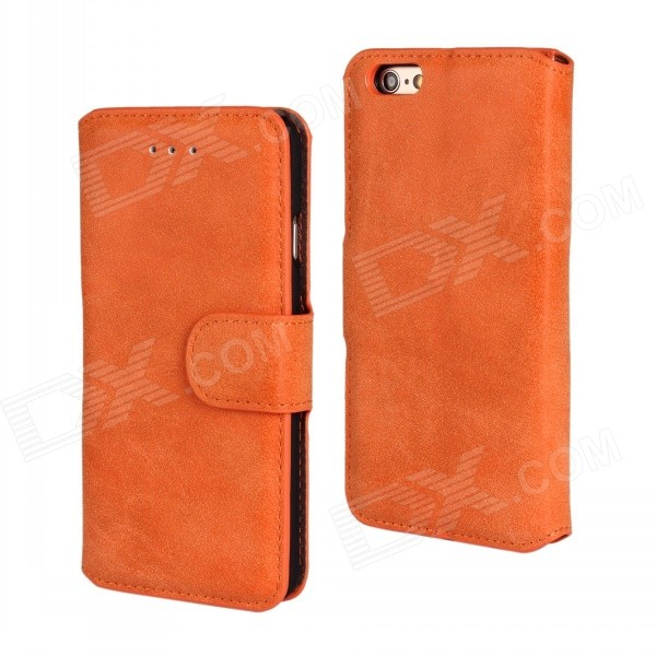 Protective Flip-Open Retro Matte PU Leather Case w/ Card Slots + Stand for IPHONE 6 4.7 - Saffron antelope pattern protective flip open pu leather case w stand card slots for iphone 6 plus