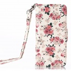 Flower Pattern Flip PU Leather Wallet Case w/ Stand / Photo Frame for IPHONE 5 / 5S - White + Pink