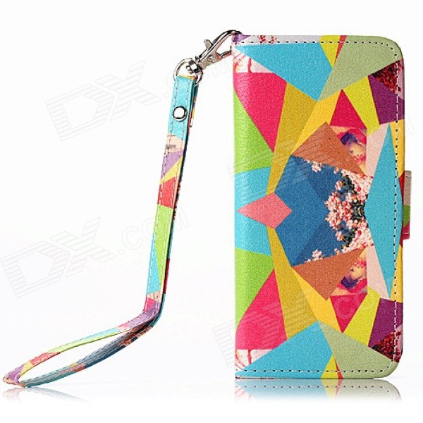 Multicolored Diamond Pattern PU Leather Wallet Case w/ Stand / Photo Frame for IPHONE 5 / 5S pu leather wallet stand design case for iphone 5 5s black