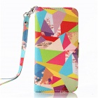 Multicolored Diamond Pattern PU Leather Wallet Case w/ Stand / Photo Frame for IPHONE 6 4.7''
