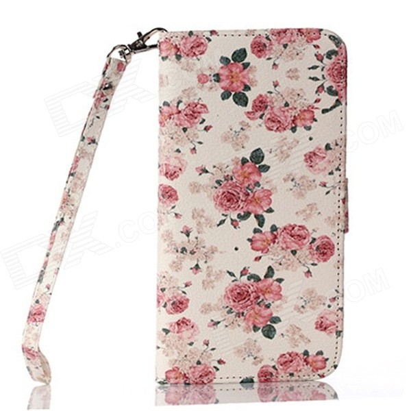 Multicolored Floral Pattern PU Leather Wallet Case w/ Stand / Photo Frame for IPHONE 6 4.7'' fashion england flag pattern wallet style pu leather case for iphone 4 4s multicolored